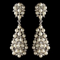 Dramatic Pearl And Rhinestone Dangle Wedding Earrings