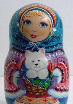 Exclusive Russian Nesting Doll by INNA KAMINSKAYA WINTER CHILDREN