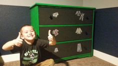 Dresser I painted for my son - Seahawks green with chalkboard paint on the drawers!