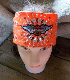 ORANGE Cotton Premium Bandana with HARLEY WINGS Patch Blinged Crystals Womens…