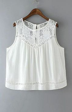 Summer 2016 Fashion Women Cotton Lace Hollow out Vintage Sleeveless white Casual Tank Tops Diy Vetement, Look Boho, Bohemian Mode, Boho Fashion, Womens Fashion, White Casual, White Lace, White Tunic, White White