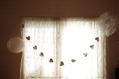 DIY Room Decor-Tissue Paper Pom-pom, music heart garland + thrift store lantern
