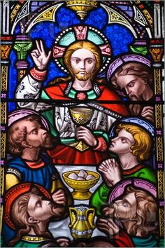 Victorian stained glass window depicting the Last Supper, or Holy Eucharist. Jesus Christ holding the Holy Grail with his disciples dining on bread and wine. Stained Glass Church, Stained Glass Art, Stained Glass Windows, Mosaic Glass, Religious Symbols, Religious Art, Painting On Glass Windows, Old Time Religion, Bible Images