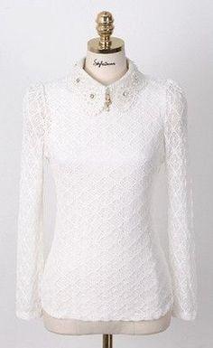 Women Lace Blouses 2016 Summer Autumn New Fashion Elegant White Long Sleeve chiffon Blouse Korean Style Women Shirt