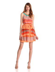 vestido naranja a rayas - vestidos cortos primavera