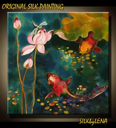 ORIGINAL Painting SILK Painting  Fishes Pond Lotus by SilkByLena, $295.00