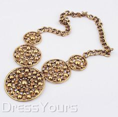 $ 11.69 Delicate Big Circle Alloy with Golden Rhinestone Lady's Necklace