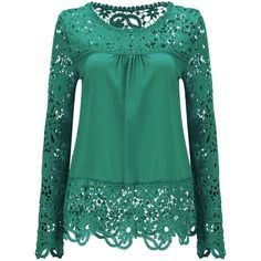 AvaCostume Womens Lace Shoulder Long Sleeve Blouse T Shirt Casual Lace... (830 RUB) ❤ liked on Polyvore featuring tops, blouses, long-sleeve shirt, shirt blouse, green shirt, long sleeve lace blouse and long sleeve lace top