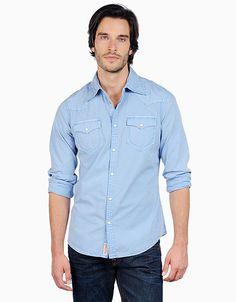 Add this to my want list for the summer. True Religion Brand Jeans, TRUE-7127 Mens Snake Eyes Solid Poplin Western -  Faded Royal, truereligionbrandjeans.com
