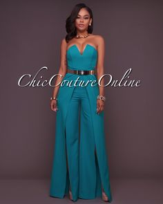 Chic Couture Online - Jaiden Emerald Green Wide Slit Legs Jumpsuit, (http://www.chiccoutureonline.com/jaiden-emerald-green-wide-slit-legs-jumpsuit/)