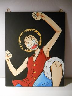 One Piece   Rufy  Canvas 24x30 by grimNglam on Etsy