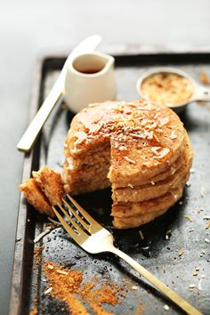 Vegan Better Than Sex aka Toasted Coconut Pancakes! Fluffy, sweet, coconutty, AMAZING #vegan #pancakes #recipe #breakfast #minimalistbaker