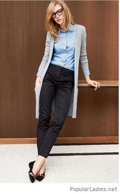 black-pants-blue-shirt-and-a-long-grey-cardigan