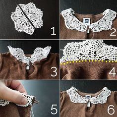 A DIY super simple Doily Collar Tutorial Fascinating Crafts With Lace Doilies You Should Make Immediately! Clothes 15 Fascinating Crafts With Lace Doilies You Should Make Immediately! Sewing Hacks, Sewing Tutorials, Sewing Crafts, Sewing Projects, Sewing Patterns, Diy Crafts, Sewing Tips, Tutorial Sewing, Diy Projects
