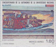 Cincuentenario de la autonomía de la Universidad Autónoma de México. Retorno de Quetzalcóatl, Mural de José Chávez Morado 1979 México