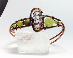 FloWeR PoWeR Retro cuff bracelet Crystal Jade by lemuriandiamond