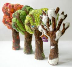Four Seasons Trees: Handmade Wool and Silk Trees CUSTOM MADE (Set of Four for Natural or Seasonal Table, Waldorf Inspired)