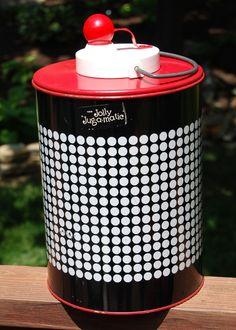 Vintage Hamilton JOLLY Jug-A-Matic Red, Black & White Polka-Dot Thermos Cooler