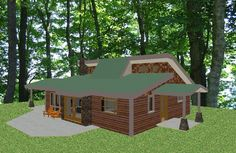 """Green home """"Simply Green 1300"""" plan from dreamgreenhomes.com, 1297sf, 2br, 1 ba, 1 story, passive solar heating & cooling"""