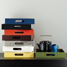Small Rectangle Lacquer Trays - - for organizing and serving