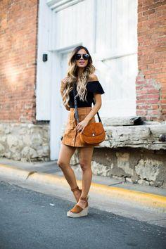 Fave: Black & Cognac Combo - Topshop Off-The-Shoulder Bodysuit // Asos Suede Skirt // Nasty Gal Sunglasses // Marc Fisher Wedges // Sorial Handbag August 17th, 2016 by maria