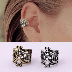 Fashion Retro Punk Style Ear Cuff Earings For Women Vintage Hollow Metal Flower Ear Cuff Clip Earrings Without Piercing