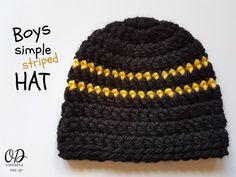 Boys Simple Striped Hat Free Pattern OombawkaDesign