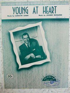 1954 Sheet Music Frank Sinatra Young at by DaysofYoreTreasures