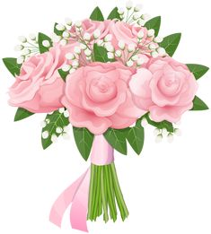 Pink Rose Bouquet Free PNG Clip Art Image