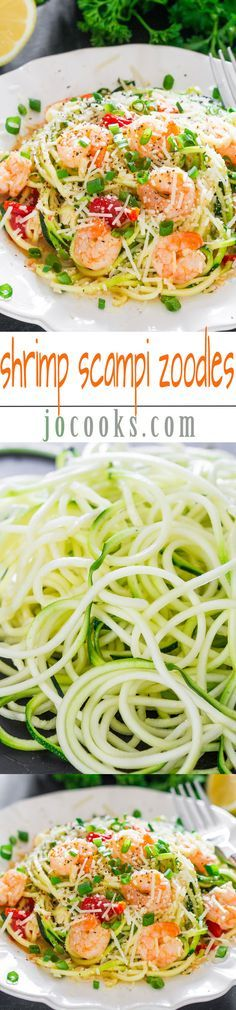 Shrimp Scampi Zoodles - Jo Cooks - This is WW Pts+ friendly - no butter and swaps broth for the typical wine