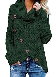 Shop FNKDOR Women Plus Size Costume Casual Long Sleeve Pile Collar Button Sweater Pullover Irregular Hem Asymmetry Sweatshirt Tops Jumper. Wrap Sweater, Sweater Coats, Pullover Sweaters, Sweater Cardigan, Women's Sweaters, Winter Sweaters, Loose Sweater, Chunky Sweaters, Ladies Sweaters