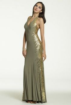 Long Jersey Sequin Halter Dress from Camille La Vie and Group USA #homecoming #homecomingdresses #prom #promdresses