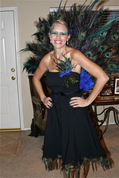 Peacock costume. Halloween DIY project. How to Up-cycle a dress for the costume