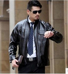 >> Click to Buy << men leather jacket jaqueta de couro masculino fur coat middle-aged leather PU jacket coat stand collar size male 6XL #Affiliate