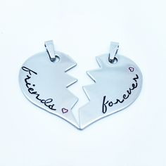 Beautiful, hand stamped friendship necklaces. Perfect gift for a partner or best friend to keep close by all the time. Made from Stainless Steel.