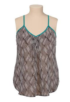 Chiffon printed contrast trim plus size tank (original price, $32) available at #Maurices