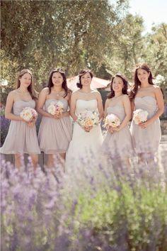 style me pretty - real wedding - usa - california - sonoma wedding - cornerstone sonoma - bride & bridesmaids - bridal bouquet & bridesmaids bouquets Taupe Wedding, Wedding Colors, Dream Wedding, Wedding Images, Wedding Styles, Lavender Bridesmaid, Gray Bridesmaids, Bridesmaid Color, Lavender Dresses