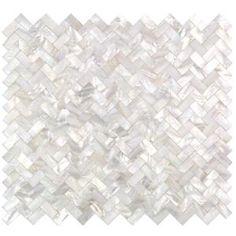 Ivy Hill Tile Lokahi White Herringbone Pearl Shell Mosaic Tile - 3 in. x 6 in. Tile - The Home Depot Splashback Tiles, Mosaic Tiles, Wall Tiles, Kitchen Backsplash, Backsplash Panels, Cement Tiles, Marble Mosaic, Mother Of Pearl Backsplash, Feature Tiles