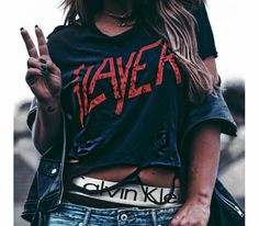 Grungy. Slayer tshirt. Calvin Klein. Blue jeans. Ripped distressed black tshirt.