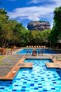 Luxury swimming pool view to Rock Palace at Hotel Sigiriya,srilanka