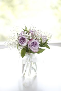 Purple roses with babys breath centerpiece - Google Search