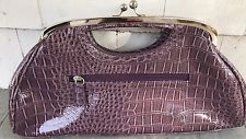 Women's Click Clutch Purse Purple Pockets Croc Pattern 15 In Long