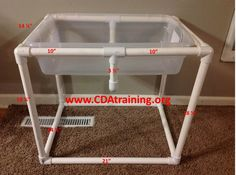 Head to the hardware store and buy; 1 Sterilite storage box x x 2 x 10 foot PVC pipe 8 . Sensory Tubs, Sensory Boxes, Baby Sensory, Sensory Activities, Sensory Play, Infant Activities, Activities For Kids, Sensory Diet, Indoor Activities