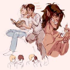 EREMIN Attack On Titan Ships, Attack On Titan Fanart, Otaku, Cute Anime Boy, Anime Guys, Where Have You Gone, Eren X Armin, Anime Ai, Scrapbook Images