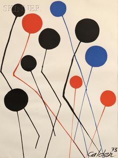 "View this item and discover similar for sale at - Alexander Calder American, ""Ballons"" Color Lithograph Edition: 31 by 22 in. W/frame 41 ½ by 32 ½ in. Alexander Calder was born in Art Students League, Lithograph Print, Alexander Calder, Painting, Kinetic Art, Art Pencils, Initial Prints, Lithograph, Abstract"