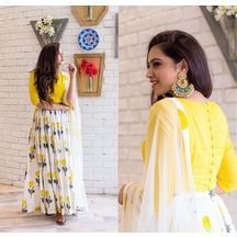New Bollywood Designer Yellow And White Gorgette Wester Lehenga Choli Set