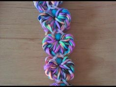 Rainbow loom Nederlands: flower doily armband / bracelet double bands. designed by waveloomers (IG)