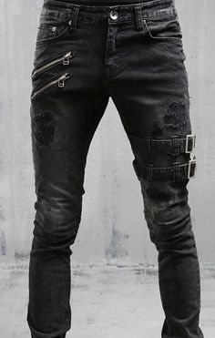 Black and White jeans punk ripped goth Buckles black Buckles goth Jeans Punk ripped trousers white Buckle Jeans, Dark Fashion, Gothic Fashion, Fashion Vintage, Black And White Jeans, Mode Cool, Cool Outfits, Fashion Outfits, Womens Fashion