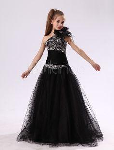 Flower Girl Dresses Black One Shoulder Junior Bridesmaid Rhinestone Beaded  Kids Pageant Dress 7eb37eb8e29f