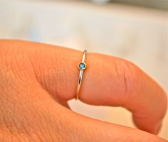 14k White gold Blue Diamond Stacking Ring Wedding by JLaurynDesign